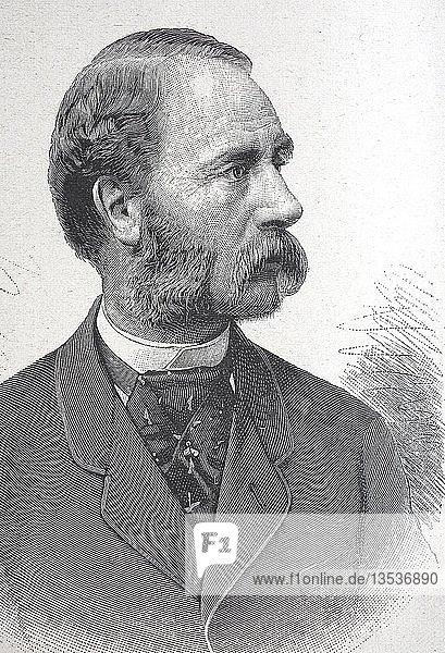 Christian IX,  1818,  1906,  König von Dänemark,  Holzschnitt,  Portrait,  1885,  Dänemark,  Europa