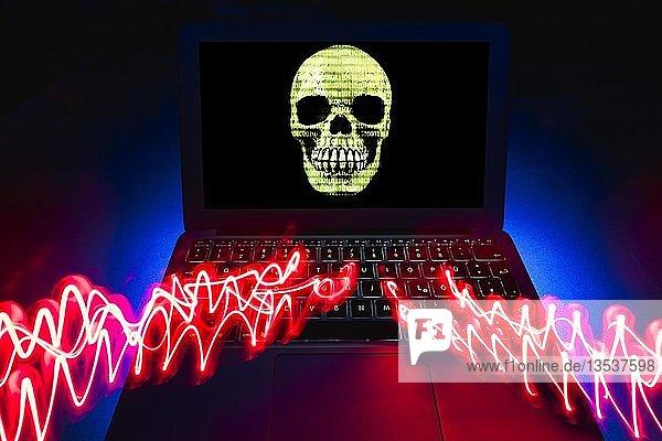 Laptop mit Totenkopf am Bildschirm  Symbolbild Malware  Virenalarm  Computerkriminalität  Datenschutz  Baden-Württemberg  Deutschland  Europa