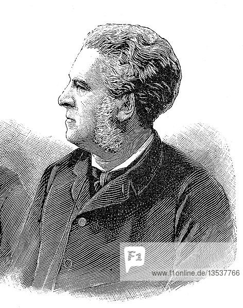 Charles Thomas Floquet  2. Oktober 1828  18. Januar 1896  französischer Staatsmann  Holzschnitt aus dem Jahr 1888  Deutschland  Europa