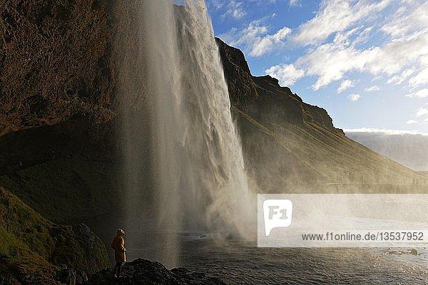 Person standing alongside Seljalandsfoss waterfall  South Iceland  Iceland  Europe