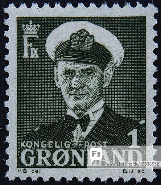 Fredrik IX  König von Dänemark  Porträt auf einer grönländischen Briefmarke  Schweden  Europa