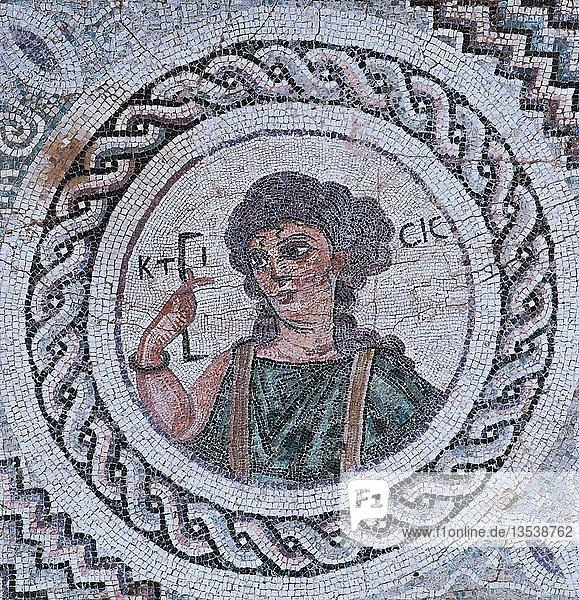 Bodenmosaik der Ktisis,  Eustolios-Villa,  Ausgrabungsstätte,  Kourion,  Zypern,  Europa