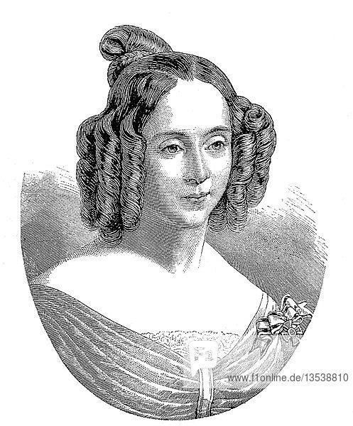 Prinzessin Augusta von Sachsen-Weimar-Eisenach,  Augusta Marie Luise Katharina,  30. September 1811,  7. Januar 1890,  Holzschnitt aus dem Jahr 1888,  Deutschland,  Europa