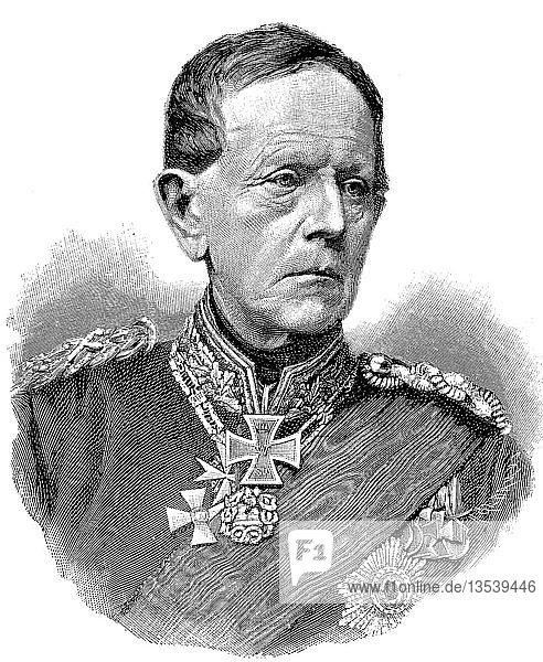 Helmuth Karl Bernhard von Moltke,  26. Oktober 1800,  24. April 1891,  Preußischer Feldmarschall,  Holzschnitt,  Deutschland,  Europa