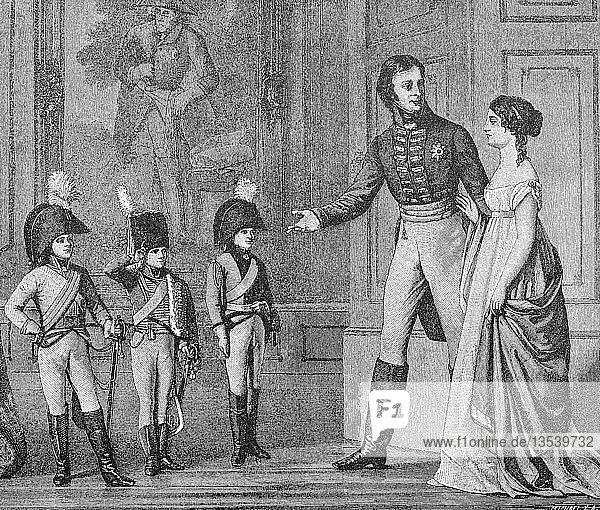 Am Heiligabend 1803 präsentierte Friedrich Wilhelm III. den Kronprinzen in der Uniform der Garde du Corps  Prinz Wilhelm in der Uniform als Husaren und Prinz Friedrich Louis als Dragoner  Reproduktion einer Holzschnitt-Publikation aus dem Jahr 1888  Deutschland  Europa