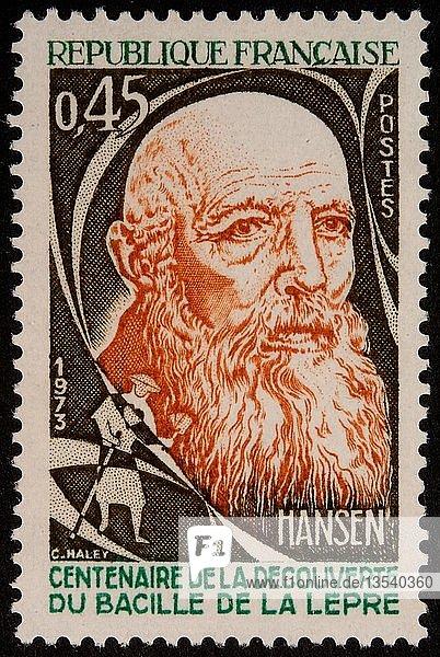 Armauer Hansen  ein norwegischer Arzt  Porträt auf einer französischen Briefmarke  Norwegen  Europa