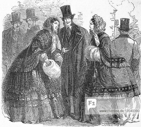 Wintermode der High Society in der Mitte des 19. Jahrhunderts  1855  Holzschnitt  Frankreich  Europa