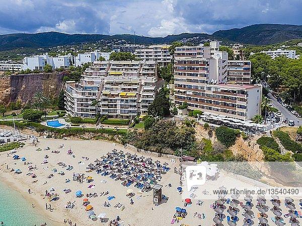 Luftaufnahme  Platja de s' Oratori und Strand Illa d'en Sales mit Apartmenthäusern  Portals Nous  Region Palma de Mallorca  Mallorca  Balearen  Spanien  Europa
