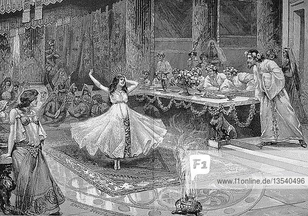 Salome tanzt vor Herodes  Salome I  ca. 65 v. 10 CE  Szene aus der Tragödie Johannes von Hermann Sudermann  Holzschnitt  1888  England