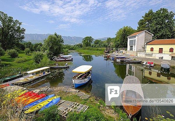 Ausflugsboote  Virpazar  Skadar-See  Skadarsko Jezero  Nationalpark Skutarisee  bei Bar  Montenegro  Europa
