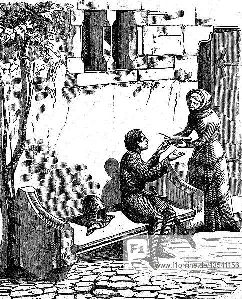 Ein irrender Ritter im Mittelalter erhielt von einer Frau eine Schüssel Suppe  Holzschnitt  1870  England