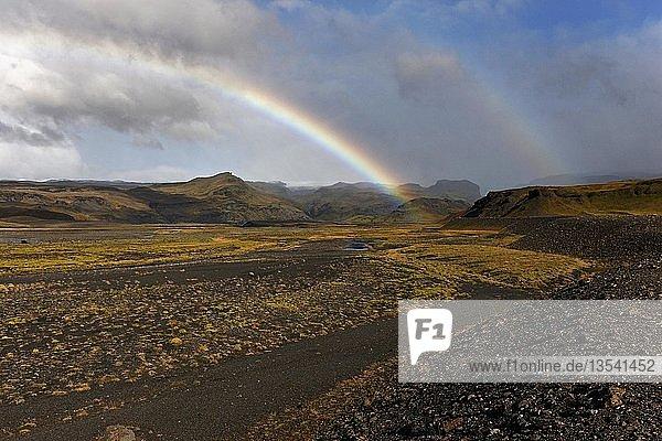 Rainbow over volcanic landscape  Southwest Iceland  Iceland  Europe