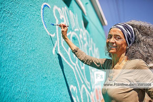 Portrait happy senior female volunteer painting on sunny wall