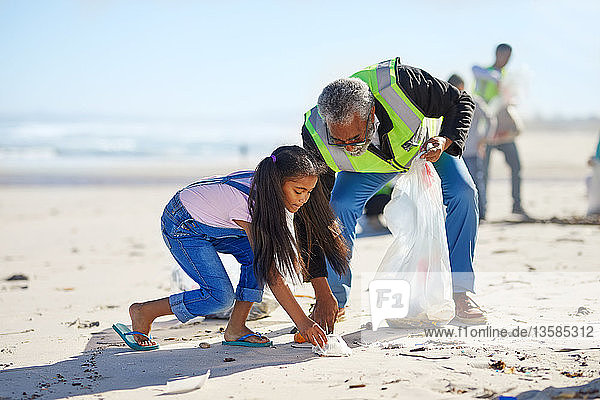 Grandfather and granddaughter volunteers cleaning up litter on sunny  sandy beach