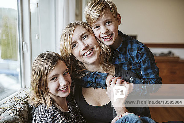 Portrait happy  affectionate mother and children