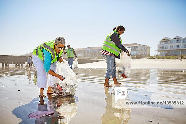 Female volunteers picking up litter on sunny wet sand beach
