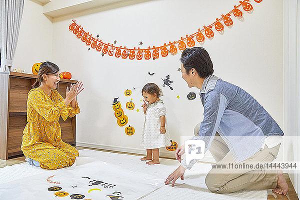 Japanese family dressed for Halloween