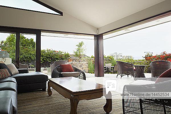 Modern living room overlooking patio