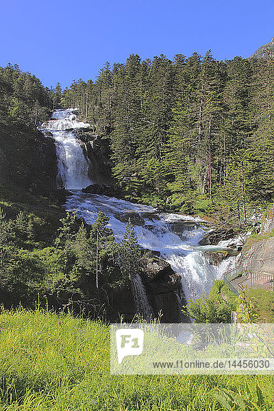 France,  Occitanie (Midi Pyrenees ),  Hautes Pyrenees (65),  Cauterets,  Pont d'espaghne waterfall (Pyrenees national park)