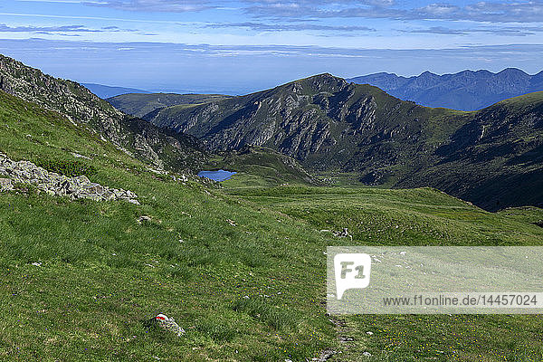 France,  Ariege,  Pyrenees,  near peak Ruhle,  GR mark up