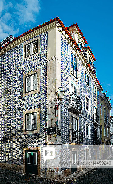 Traditional azulejo tiles on a building facade  Alfama  Lisbon  Portugal