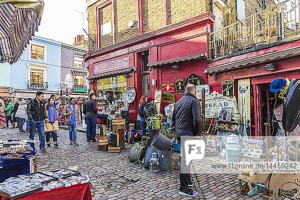 A market scene at Portobello Road market  in Notting Hill  London  England  United Kingdom