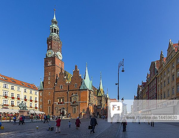 The Market Square and City Hall  Wroclaw  Poland