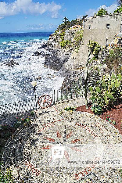 Stone mosaic of the winds the Mediterranean in village of Bogliasco,  Bogliasco,  Liguria,  Italy