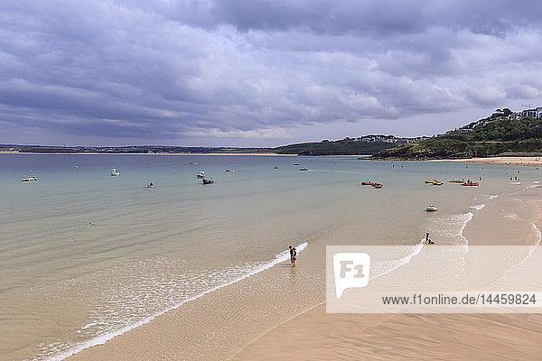 St Ives beaches  popular seaside resort in hot weather  Summer  Cornwall  England  UK