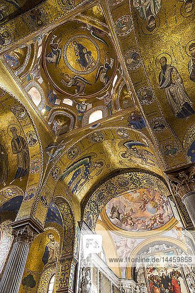 Interior of the Santa Maria dell'Ammiraglio church (also called 'La Martorana')  Palermo  Sicily  Italy