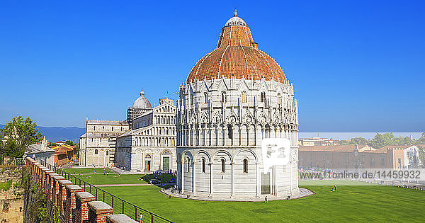 Baptistery and Cathedral view from Pisa defensive walls  UNESCO World Heritage Site  Pisa  Tuscany  Italy