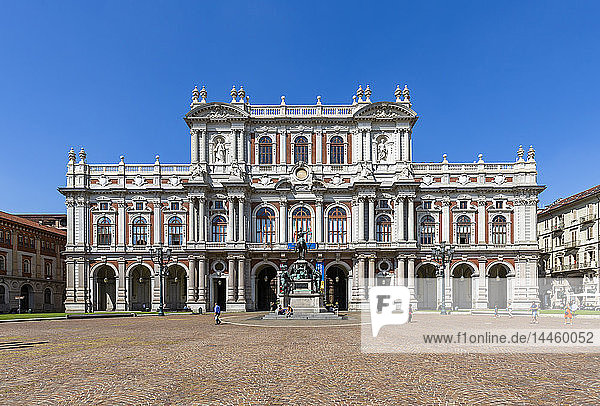 View of the National Museum in Piazza Carlo Alberto  Turin  Piedmont  Italy