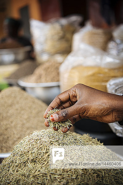 Spices on display in local market  Accra  Ghana