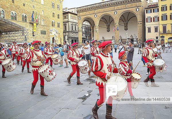 Drummers in Calcio Storico Fiorentino festival at Piazza della Signoria  Florence  Italy