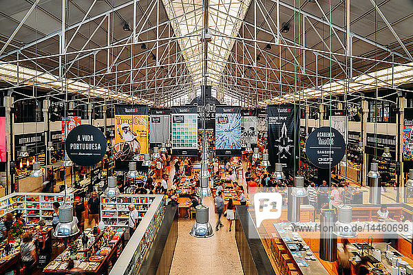 Time Out Market is a popular food hall located in Mercado da Ribeira at Cais do Sodre  Lisbon  Portugal