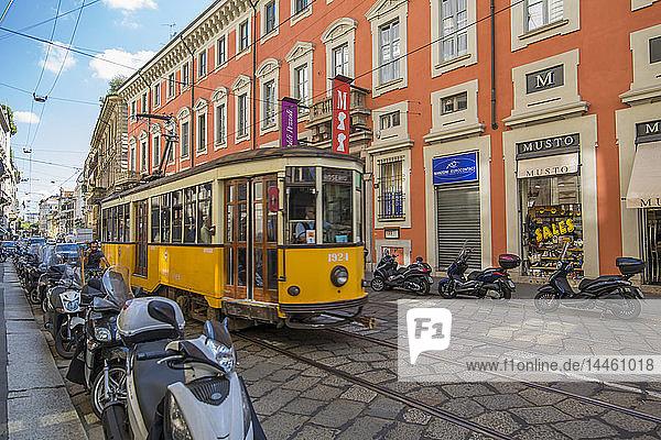 City tram passing Museum Poldi Pezzoli on Via Alessandro Manzoni  Milan  Lombardy  Italy