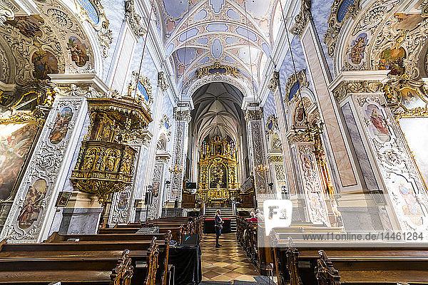 Nave  high altar  and pulpit in Goettweig Abbey  near Krems  Wachau  Austria