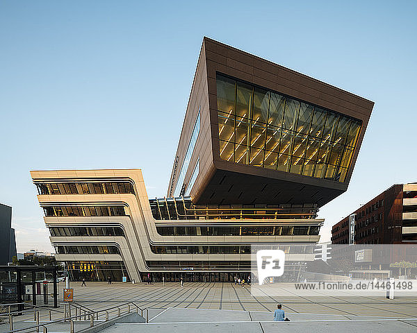 Exterior of Vienna University of Economics and Business Campus designed by Zaha Hadid Architects  Vienna  Austria