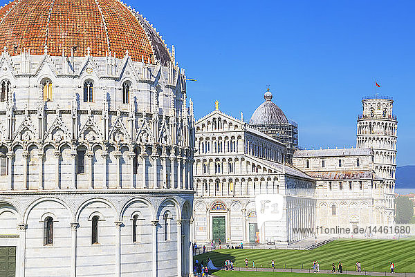 Baptistery,  Cathedral and Leaning Tower,  Campo dei Miracoli,  UNESCO World Heritage Site,  Pisa,  Tuscany,  Italy