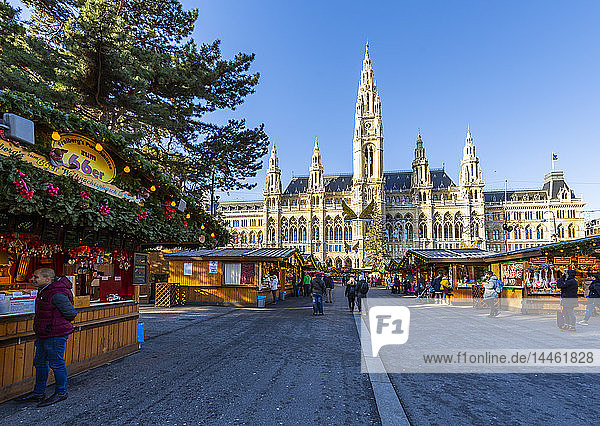 View of Rathaus and Christmas Market in Rathausplatz  Vienna  Austria