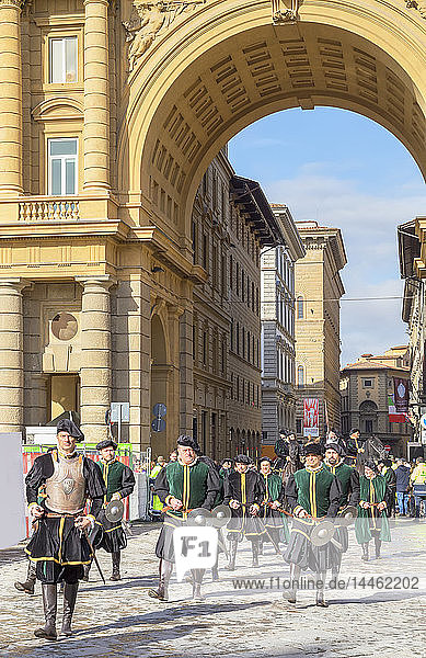 Participants in the Explosion of the Cart (Scoppio del Carro) festival marching through Florence in historical costumes  Florence  Tuscany  Italy