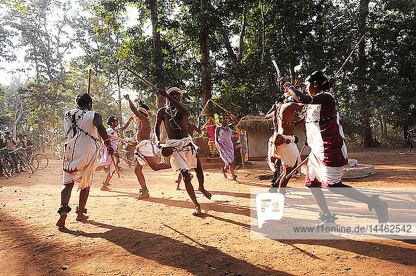 Dhurua tribal men and women performing rare traditional tribal dance to celebrate festival of Shivraatri  Gupteswar  Odisha  India