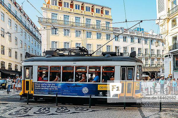 Traditional tram at Chiado neighbourhood in Lisbon  Portugal