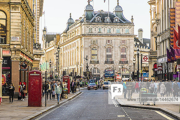 A view looking to Piccadilly Circus  London  England