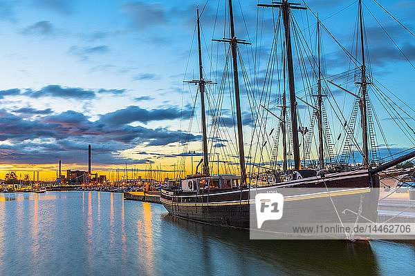 Boat docked at the harbour in Helsinki  Uusimaa  Finland  Scandinavia
