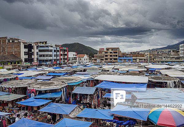 Saturday Handicraft Market  Plaza de los Ponchos  elevated view  Otavalo  Imbabura Province  Ecuador  South America