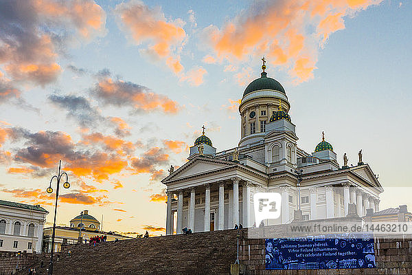 Helsinki Cathedral at sunset in Helsinki  Finland