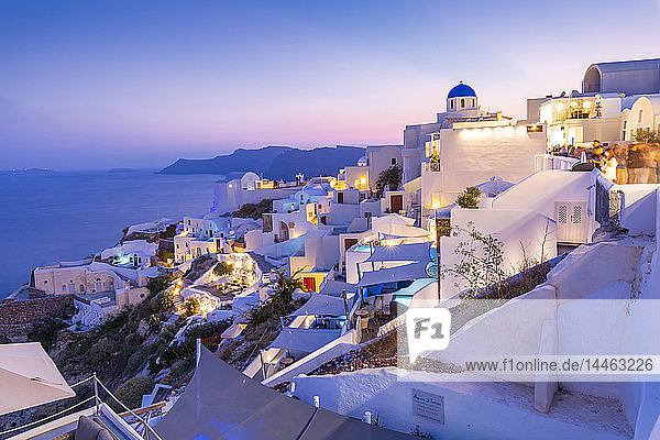 View of Oia village at dusk  Santorini  Cyclades  Aegean Islands  Greek Islands  Greece  Europe