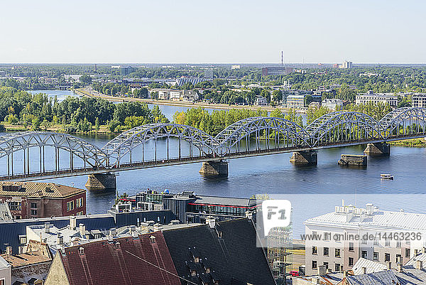 Daugava River and Railway Bridge  Riga  Latvia