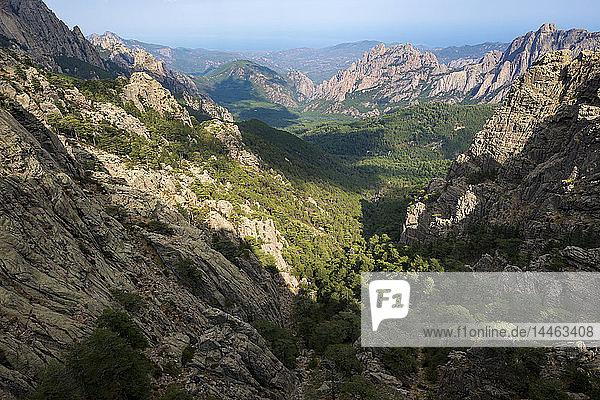 Trekking on the GR20 in Corsica near the Aiguilles de Bavella towards Refuge d'Asinao  Corsica  France  Mediterranean